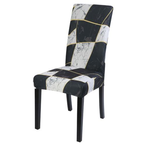 Geometric Dinning Chair Cover Slipcover Elastic Removable Wedding Banquet Decor