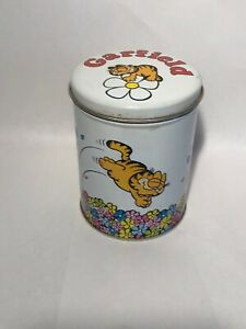 Garfield Cat Metal Storage Container With Lid Circa 1978