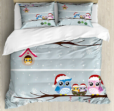 Teal and White Quilted Bedspread /& Pillow Shams Set Cute Owl Couple Print