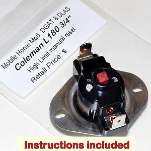 Details about Coleman Limit Switch L180F Manual Reset Furnace Models DGAT  DLAS + Instructions