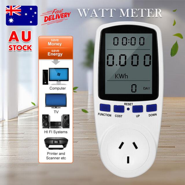 AU Plug 240V Watt Meter Power Energy Monitor Equipment Electricity Usage Socket
