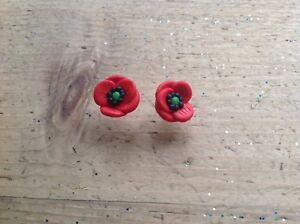 Details About Poppy Stud Earrings Flower Cute Handmade Summer Gift Ideas