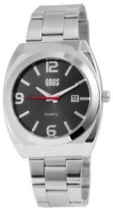 Qbos-Herrenuhr-Anthrazit-Silber-Analog-Datum-Metall-Armbanduhr-XRP3122100001
