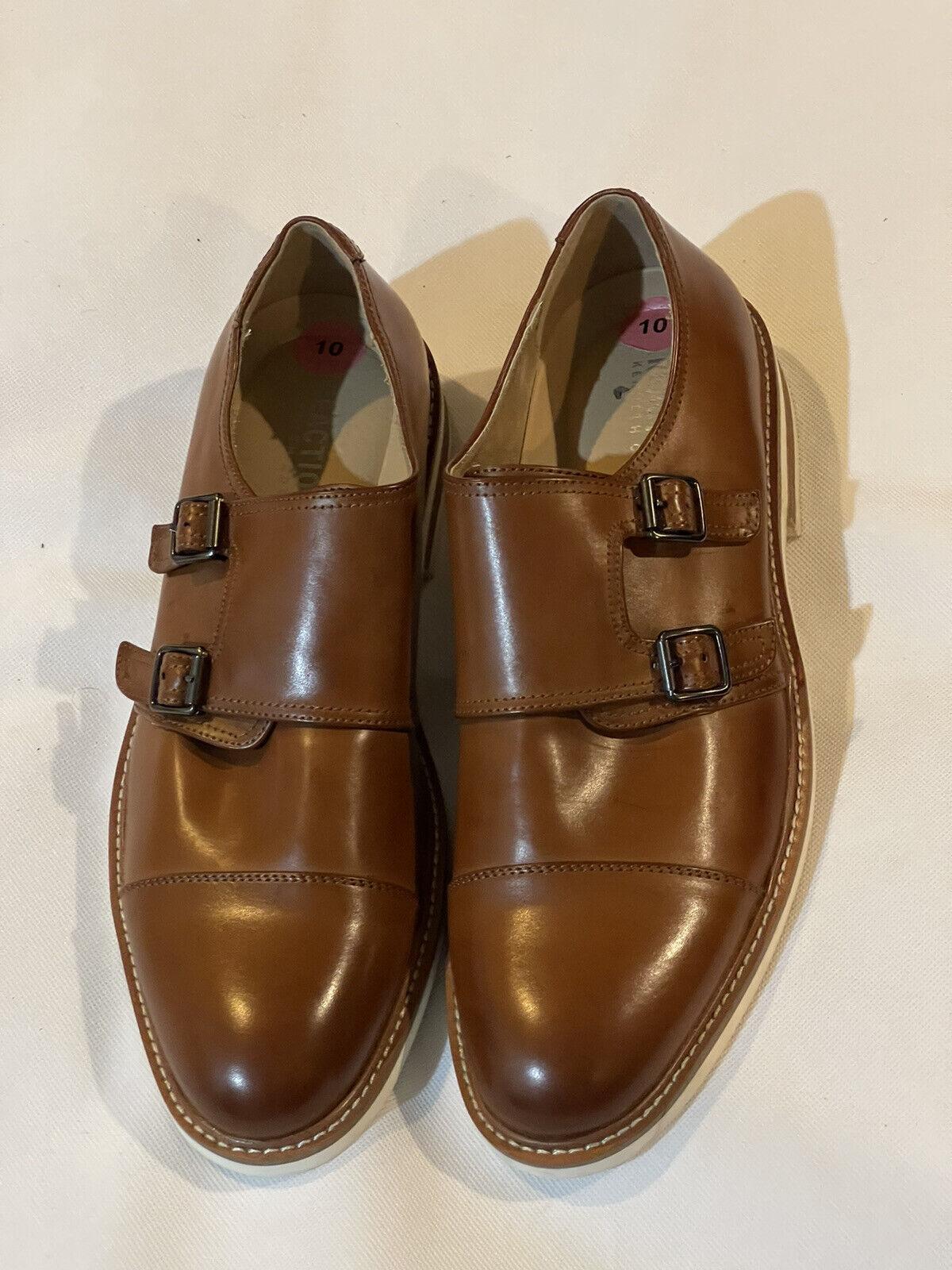 Kenneth Cole Reaction Mens Sz 10 Dress Shoes JOELS DBL Monk Brown NEW