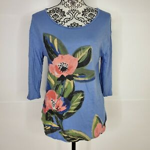 Lucky-Brand-Small-Shirt-Pink-Flowers-Floral-Blue-Women-s-Scoop-Neck-Tee-Blouse