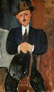 Art-print-Modigliani-Figurative-Seated-Man-Leaning-On-a-Cane-on-Paper-Canvas