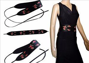 Ceinture-femme-bandeau-a-nouer-fleurs-brodees-fond-noir-tres-tendance