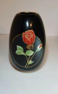 OTAGIRI JAPAN Crimson Rose Porcelain Vase Black Heart Gold Trim