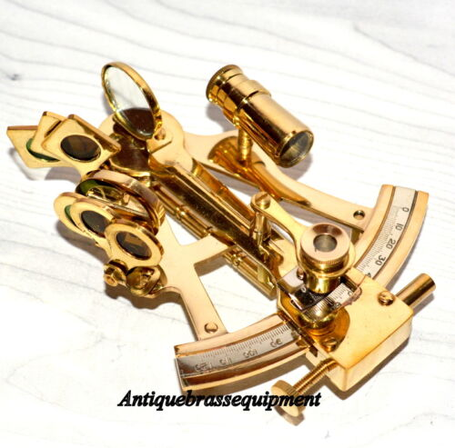 """VINTAGE MARITIME 4/"""" BRASS NAUTICAL SEXTANT ASTROLAB SHIP/'s WORKING INSTRUMENT"""
