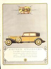 1930 CADILLAC V 16 GOLD + BLACK  CAR ORIG VINT  CAR AD