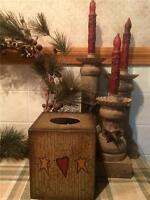 Primitive Square Tissue Box Cover Holder With Heart, Stars And Decorative Vine
