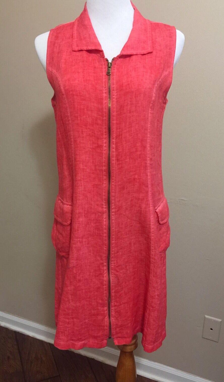 INIZIO orange Linen Dress Size M Shift Zippered Sleeveless Knee Length Casual