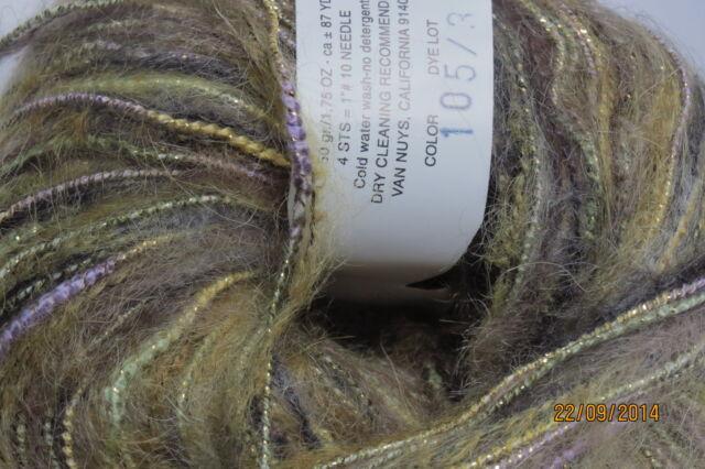 """Trendsetter /""""DUNE/"""" Knit//Crochet Novelty Yarn #105 Olive Martini 1sk"""
