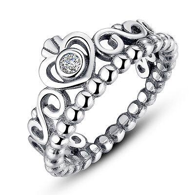 Optional Women 925 Silver Princess Wedding Band Zircon Crown Ring Jewelry