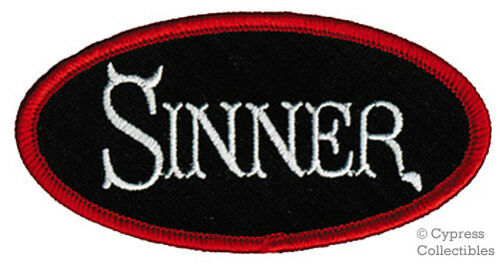 SINNER embroidered iron-on PATCH Jesus Christ RELIGIOUS nametag Devil Horns Tail