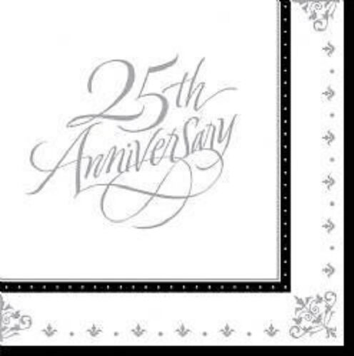 70th golden and silver anniversary 16 party napkins serviettes 3 ply ages 18th