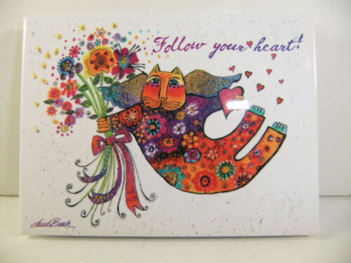 Laurel Burch Follow Your Heart White Glossy Magnet New