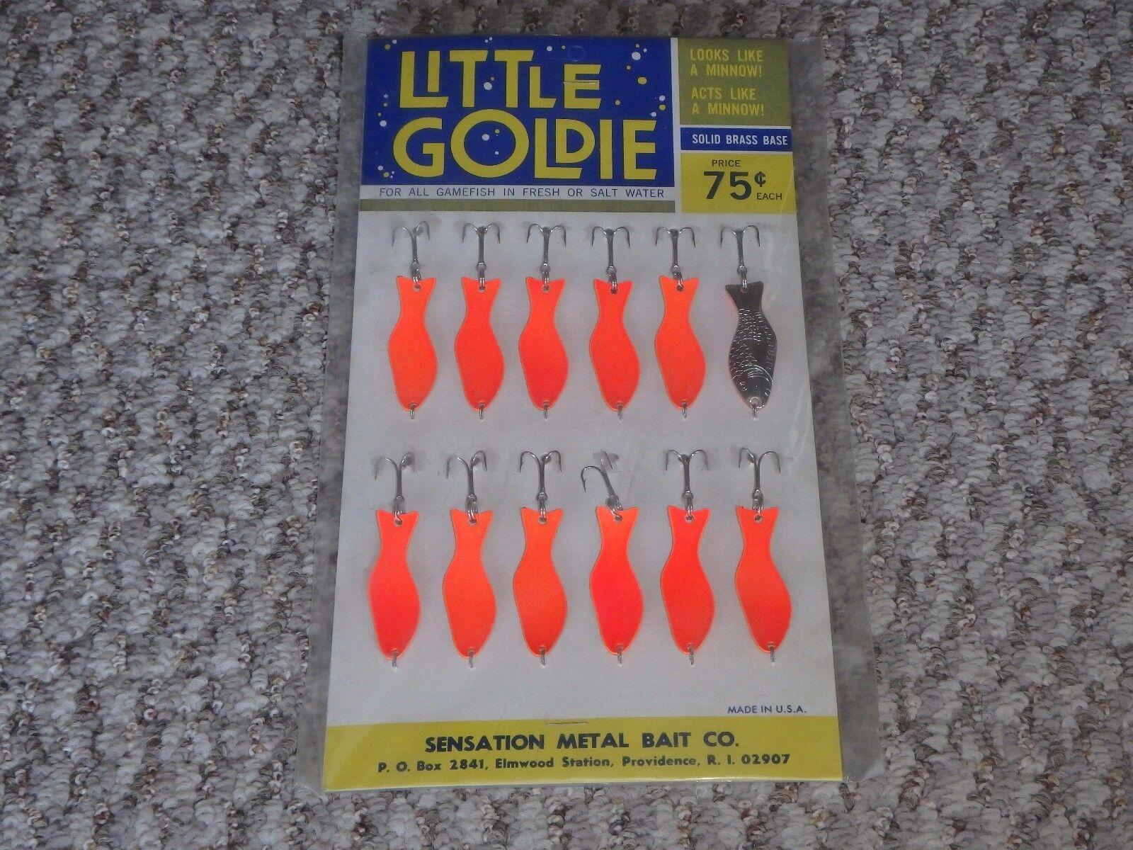 Vintage Lure Display Card  Little goldie Fishing Lures Sensation Metal Bait Co. O  brand