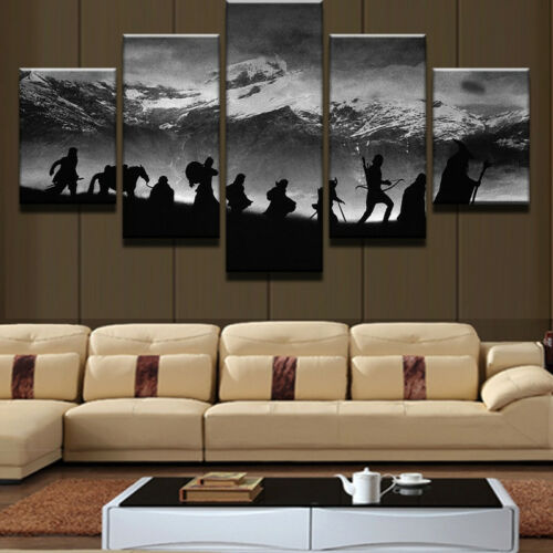 Lord Of The Rings Fellowship Silhouette 5 Panel Canvas Print Wall Art Home Decor
