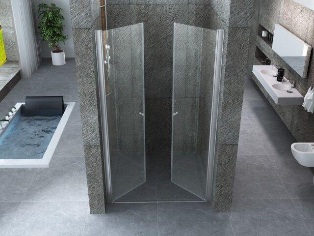 Porta doccia apertura apertura apertura saloon in cristallo trasparente doppia porta battente   cv ff7efb