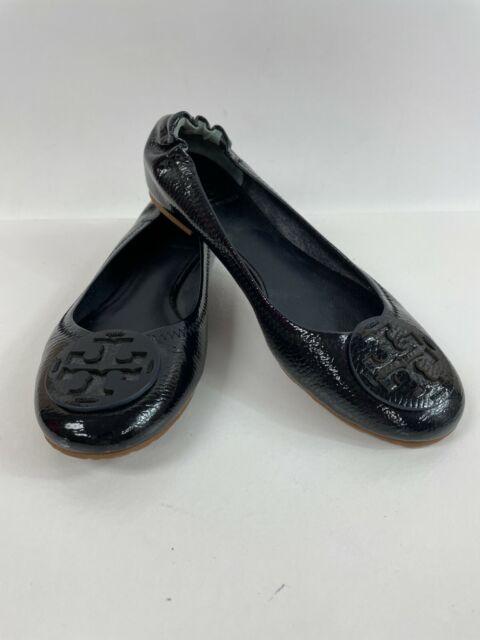 Tory Burch Blue Black Patent Leather REVA Ballet Flats Shoes Slip Ons Size 8