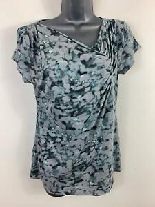 WOMENS-ANN-TAYLOR-CASUAL-GREY-PATTERNED-SHORT-SLEEVED-T-SHIRT-TOP-M-MEDIUM