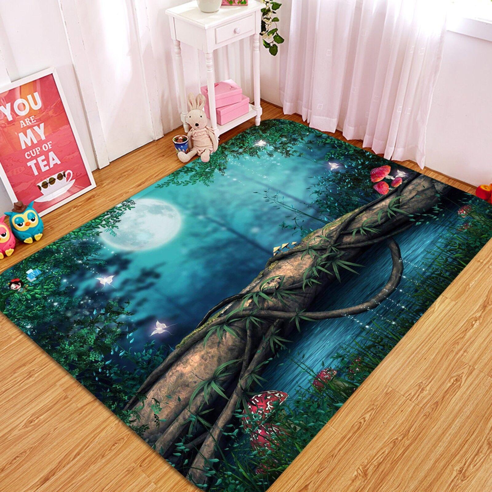 3D Forest Night 024 Non Slip Rug Mat Room Mat Quality Elegant Photo Carpet AU