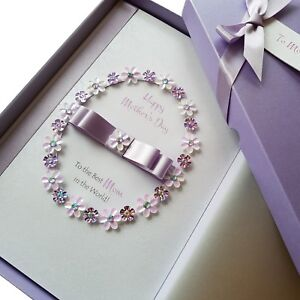 Details About LARGE LUXURY Mothers Day Birthday Card Handmade Personalised Boxed With Sequins