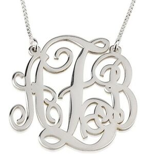 oNecklace ® Initial Name Pendant Monogram Necklace Sterling Silver 1.2″ Inch