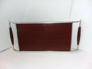 Fantastic-Vintage-Retro-Wooden-amp-Metal-Serving-Tray-With-Wood-Handles-2-sides