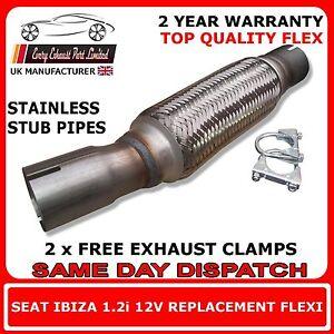 Seat-Ibiza-1-2-me-2005-2009-abrazadera-de-escape-de-recambio-Flex-Flexible-Para-la-parte-delantera