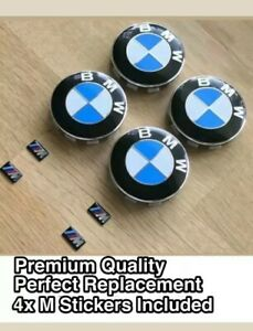 BMW-4x-Alloy-Wheel-Centre-Hub-10-Pin-Blue-Caps-68-mm-pour-E90-E46-E60-E82-1-3-5-7