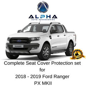 Neoprene-Front-Rear-Seat-Covers-For-18-19-Ford-Ranger-PX-MK2-with-Red-Stitching