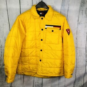 Vtg Tommy Hilfiger Women Yellow Puffer Jacket L Large Flag Box Logo