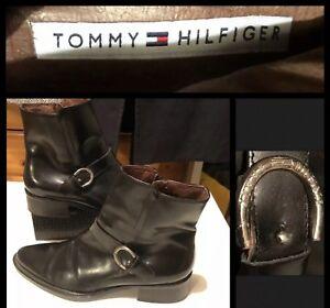 Black Boots 37 Uk 4 Chelsea Hilfiger Eur Women's Leather Tommy wFaEA
