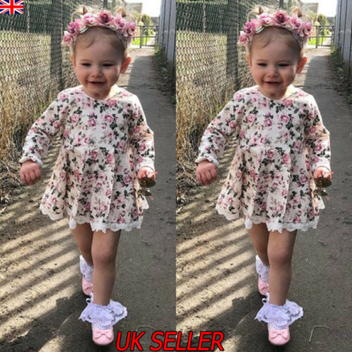 Baby Kid Girl Floral Long Sleeve Dress Party Wedding Pageant Princess Dresses UK