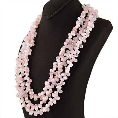 Office Wear 655.00 Cts Earth Mined Untreated Pink Rose Quartz Beads Necklace