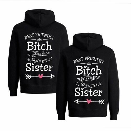 "BFF amigas suéter sweater con capucha Hoodie en el set /""Best Friends Bitch/"""