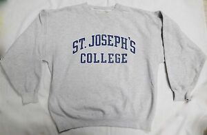 ST-JOSEPHS-COLLEGE-VINTAGE-GRAY-PULLOVER-SWEATSHIRT-MENS-ESTIMATED-SIZE-LARGE-XL