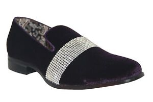 After Midnight Men s Fancy Dress Shoes Purple Silver Slip On Loafers ... 3afd27591a48