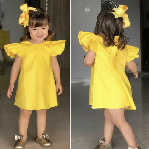 Toddler Kid Summer Infant Baby Girls Fly Sleeve Solid Bow Dress Clothes Dresses