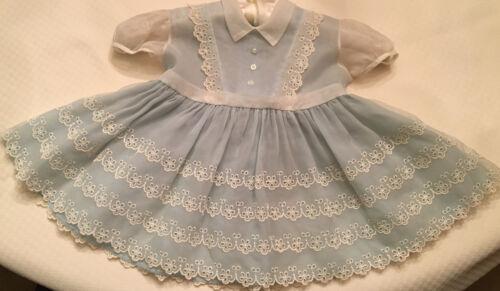 Vintage 1950s Child Girl Sheer Blue Lace Eyelet Dr