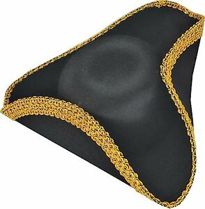 Deluxe colonial tricorn hat one size ebay for Colonial hat template