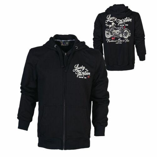 Skull Print Rockabilly Lucky 13-Vintage Iron Zip Hoody Rocker hoodie