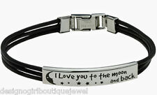 """""""I Love You to The Moon and Back"""" Bracelet Stainless Steel Leather Silver Unisex"""