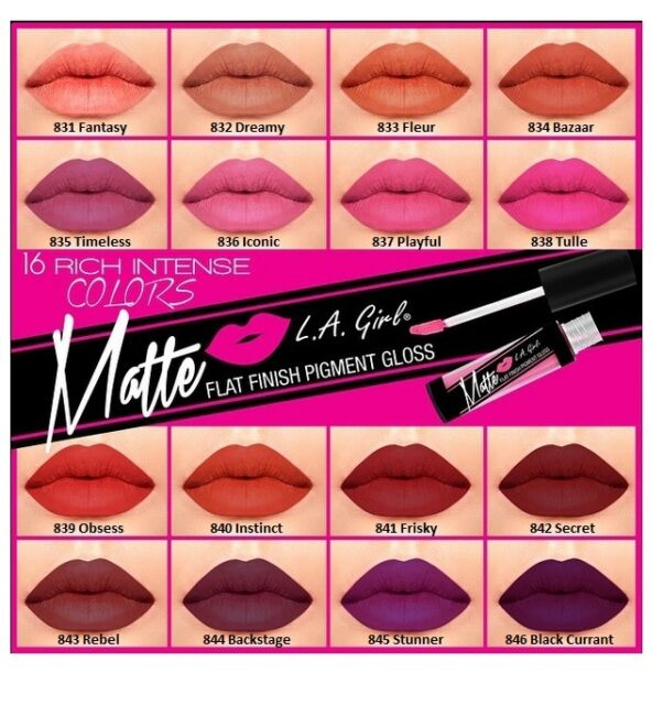 6 Pcs L.A. LA Girl Matte Lip Gloss GLG, Matte Finish Pigment - Pick Any 6