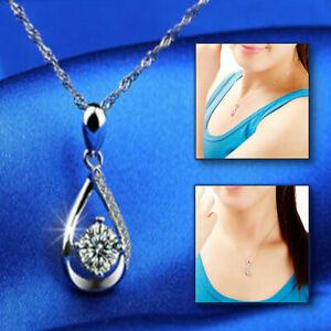 WOMEN-039-S-LUSSO-gioielli-925-Sterling-Silver-Plated-acqua-goccia-collana-CZ