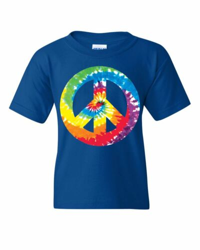 Tie Dye Peace Symbol 80/'s Youth T-Shirt Hippie Happiness Love not War Kids Tee