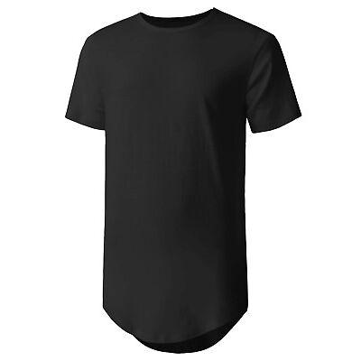 HC Mens BASIC HIPSTER T Shirts Casual Extended Longline Back Hip Hop Hemline Tee