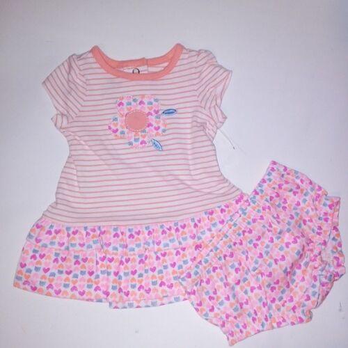 Small Wonders Girls Outfit Dress /& Bottom Orange Pink Stripe Flower S//S